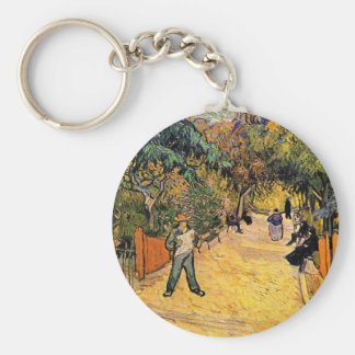 Entrance to the Public Park by Vincent van Gogh Basic Round Button Key Ring
