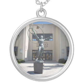Entrance, Ventura High School, California Round Pendant Necklace
