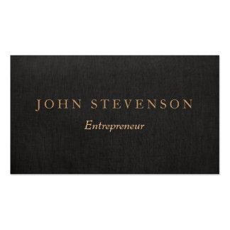 Entrepreneur Professional Black Linen Look Vintage Pack Of Standard Business Cards