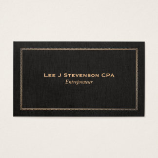 Entrepreneur Professional Classic Faux Black Linen Business Card