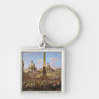 Entry into Rome of Jerzy Ossolinski Silver-Colored Square Key Ring