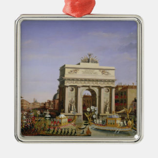 Entry of Napoleon I  into Venice, 1807 Silver-Colored Square Decoration