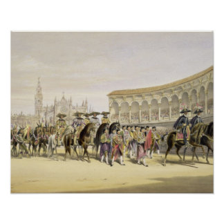 Entry of the Toreros in Procession, 1865 (colour l Poster