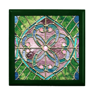 Entwinded Hearts Stained Glass Look Gift Bo Trinket Box