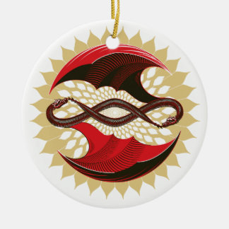 Entwined Dragons Ceramic Ornament