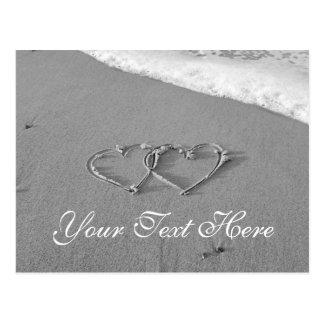 Entwined hearts in sand | Romantic beach scene Postcard