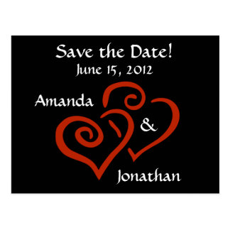 Entwined Hearts Save the Date Postcard (Black)
