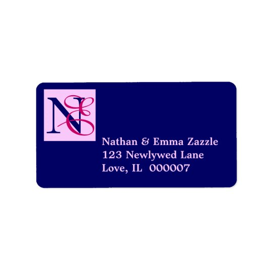 Entwined initials monogram label