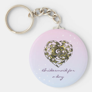 Entwined Love Heart Wedding (Bridesmaid) Basic Round Button Key Ring