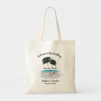 Entwined Palm Trees Wedding Welcome Tote Bag