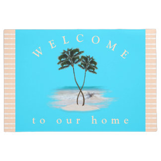 Entwined Palm Trees Welcome Home Door Mat