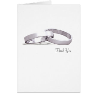 Entwined Rings Silver BLK- Thank You Card