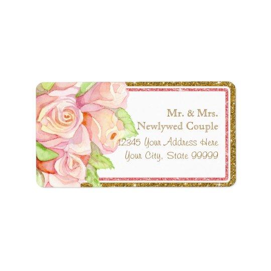 Envelope Address Labels Watercolor Rose Bouquet