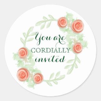 Envelope Invitation Sticker - Floral Rose Wreath