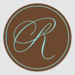 Envelope Seal Chocolate And Blue Monogram Wedding Round Sticker