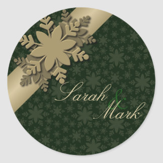 Envelope Seal Green & Gold Snowflake Wedding Round Sticker