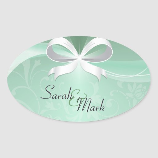 Envelope Seal Green & White Floral Ribbon Wedding Oval Sticker