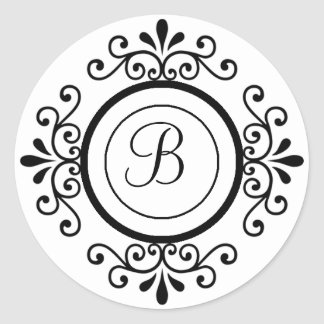 Envelope Seals Monogram B For Wedding Invitaitons Round Sticker