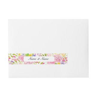 Envelope Wrap Floral Wedding Flowers Pink Leaves Wraparound Address Label