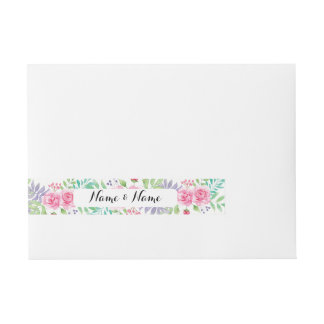 Envelope Wrap Floral Wedding Flowers Watercolour Wraparound Address Label