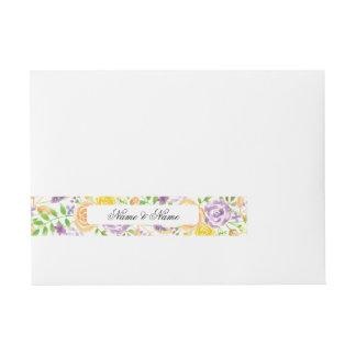 Envelope Wrap Floral Wedding Purple Peach Flowers Wraparound Address Label