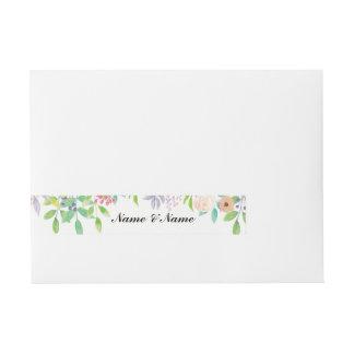 Envelope Wrap Floral Wedding Watercolour Flowers Wraparound Address Label