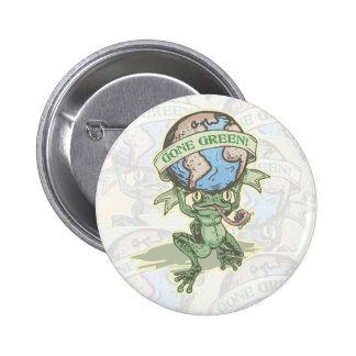 Enviro Frog Gone Green Earthday Gear Pinback Buttons
