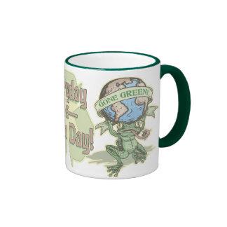 Enviro Frog Gone Green Earthday Gear Ringer Mug