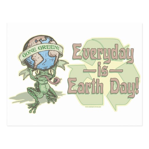Enviro Frog Gone Green Earthday Gear Postcards
