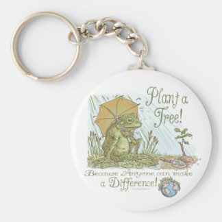 Enviro Frog Plant a Tree  Earth Day Gear Basic Round Button Key Ring