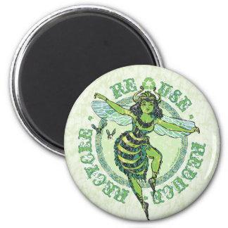 Enviro Green Bee Earth Day Gear Fridge Magnets