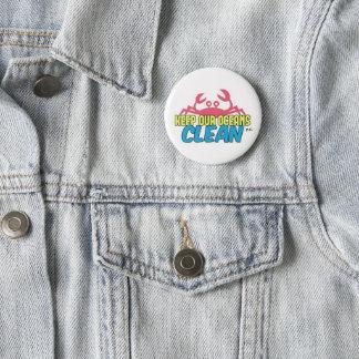 Environment Keep Our Oceans Clean Slogan Badge