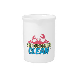 Environment Keep Our Oceans Clean Slogan Pitcher