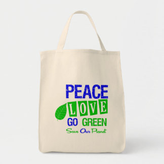 Environment Peace Love Go Green v2 Tote Bags