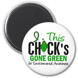 ENVIRONMENTAL Chick Gone Green 6 Cm Round Magnet