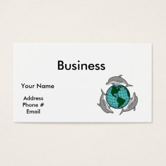 environmental globe and dolphins design business card