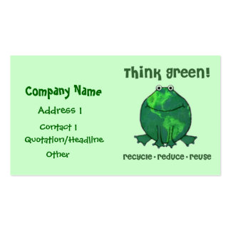 Environmental Green Recycle Frog  Business Card