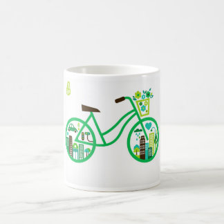 Environmentally eco-friendly green bike cups basic white mug