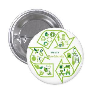 Environmentally eco-friendly green recycle button