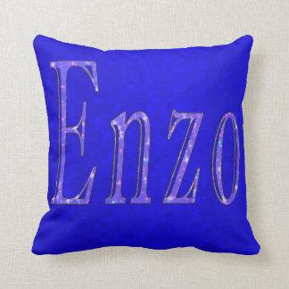 Enzo, Name Logo, Blue Cushion
