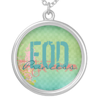 EOD Princess green/pink Round Pendant Necklace