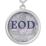 EOD Wife pink/dark blue Round Pendant Necklace