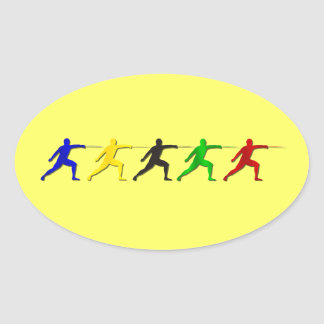 Epee Fencers Fencing Mens Athlete Womens Sports Oval Sticker