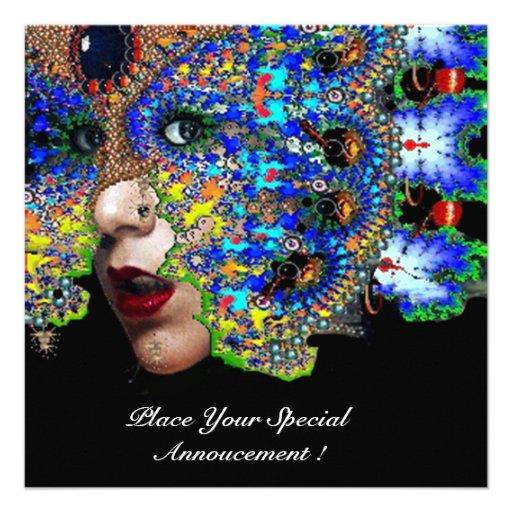 EPHEMERAL Mardi Gras Masquerade Ball, Blue Mask Personalized Announcements