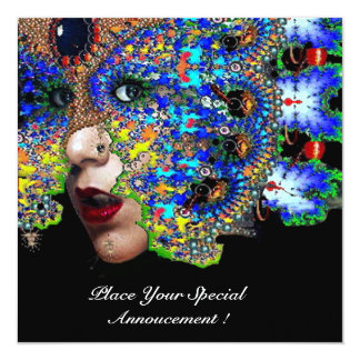 EPHEMERAL Mardi Gras Masquerade Ball, Blue Mask Personalized Announcements