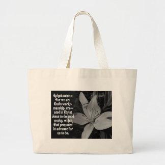 EPHESIANS 2:10 BIBLE SCRIPTURE QUOTE JUMBO TOTE BAG
