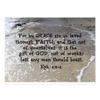Ephesians 2:8-9 For by grace are ye saved through Postcard
