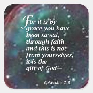 Ephesians 2:8 square sticker