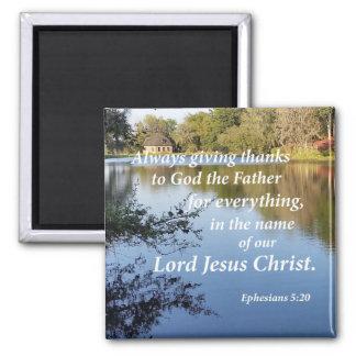 Ephesians 5:20 square magnet