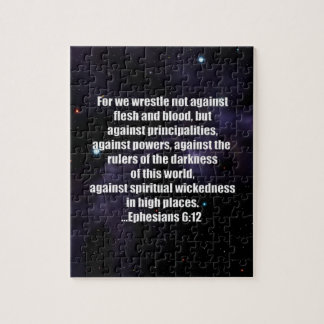 Ephesians 6:12 Bible Verse on Space Background Puzzles